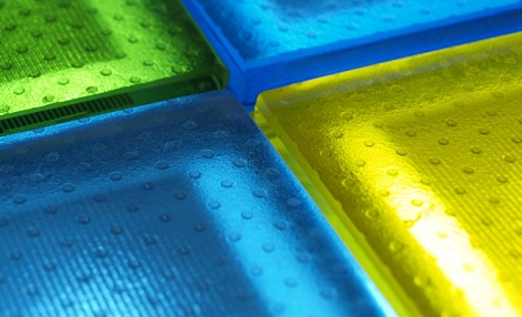 Coloured PV walkable anti-slip floor (Photo courtesy of Onyx Solar)