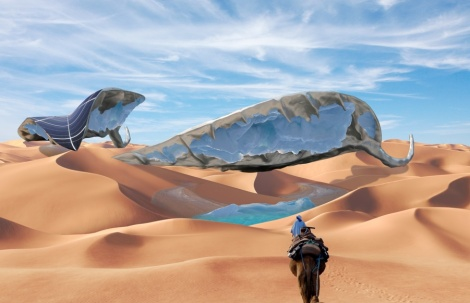 solar powered sculpture creates ice in desert