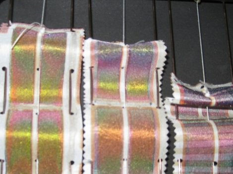 Strips of PV fabric (photo courtesy of Power Textiles Ltd., http://powertextiles.com/)